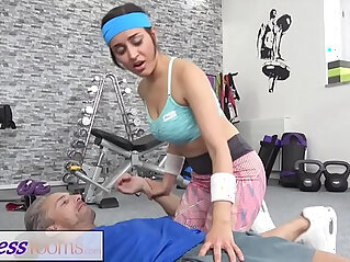 Fitness Rooms Petite sporty British Afghan gets rough fuck in the gym