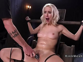 Blonde hard flogged and gagged with big dildo in bdsm