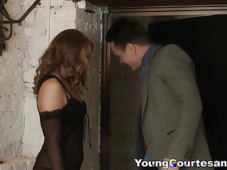 Seductive blonde babe in lingerie fucking around